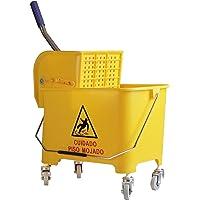 OVAL Cubeta con Exprimidor de 20 Litros Color Amarillo, 4 Llantas con Separador de Agua Limpia Alta Durabilidad, Ideal…