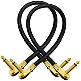 2 Units - 12 Inch - Pedal, Effects, Patch, instrument cable CUSTOM MADE By WORLDS BEST CABLES – made using Mogami 2524 wire and Eminence Gold Plated ¼ inch (6.35mm) R/A Pancake type Connectors