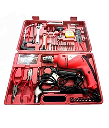 Toolsden AG-A1101-K Agni Powerful Impact Drill Machine Kit with Reversible Function 500 Watt 2600/2800 RPM, 105 Accessories, Red