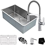 Kraus KHU100-32 32-inch 16 Gauge Undermount Single Bowl Stainless Steel Kitchen Sink