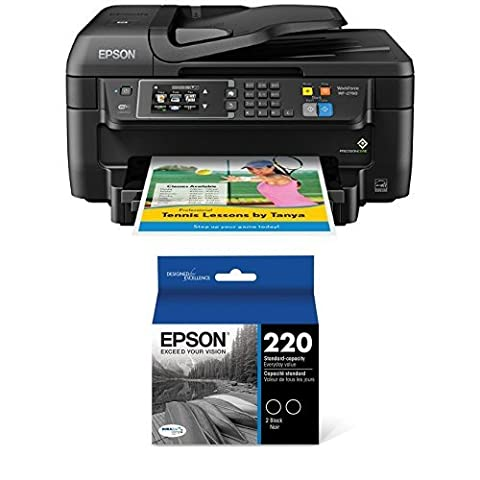 Epson WorkForce WF-2760 All-in-One Wireless Color Printer with Scanner, Copier, Fax, Ethernet, Wi-Fi Direct and NFC + Black Ink (Laser Wifi Printer Scanner)