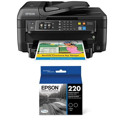 Epson WorkForce WF-2760 All-in-One Wireless Color Printer with Scanner, Copier, Fax, Ethernet, Wi-Fi Direct and NFC  + Black Ink Bundle