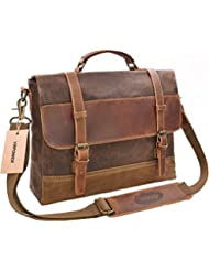 Waterproof Laptop Briefcase, 15.6 inch, Waxed Canvas Leather Messenger Bag