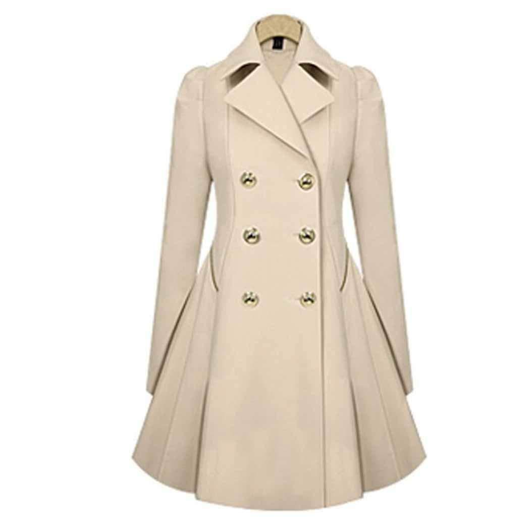Zippem Women Casual Turn-Down Collar A-Line Pleated Hem Windbreaker Coat by Zippem