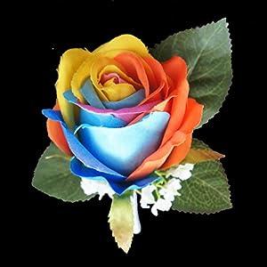 Lily Garden Silk Rainbow Rose Flowers Bouquet Boutuniere 21