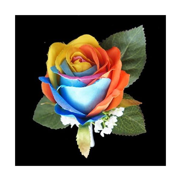Lily-Garden-Silk-Rainbow-Rose-Flowers-Bouquet-Boutuniere