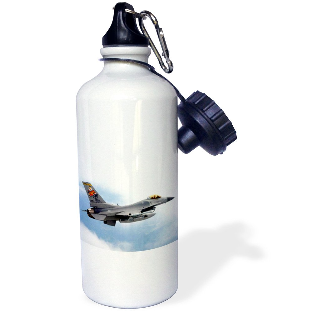 3dRose wb/_813/_1F-16 Jet Aircraft Sports Water Bottle 21 oz White