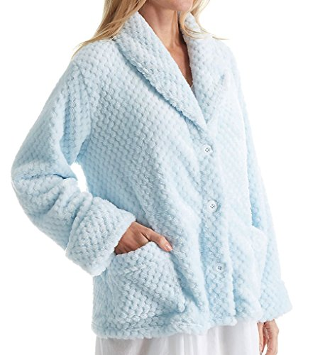 La Cera 100% Polyester Honeycomb Fleece Bed Jacket (8825) L/Blue