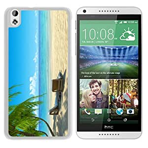 Unique Designed Skin Case For HTC Desire 816 With Chairs on Beach W Palmtrees White Phone Case
