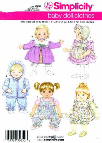 Simplicity 3876 Sewing Pattern Baby Doll Wardrobe -