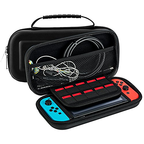 Carrying Case for Nintendo Switch with 5 Game Cart Slots ,Double Zipper Design,Soft Inner Protects Nintendo Switch Console ,Joy cons