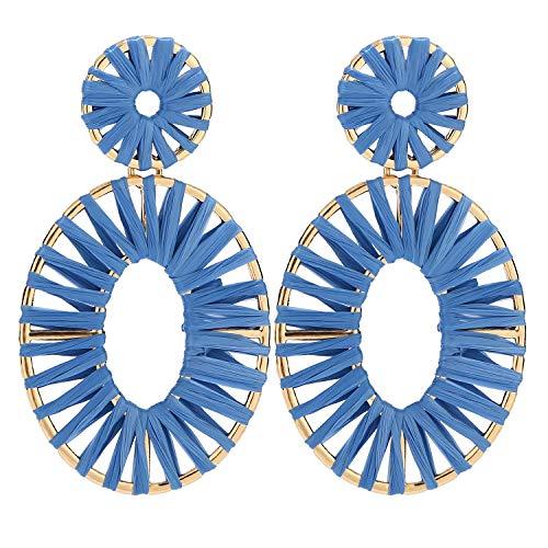 BaubleStar Kiera Raffia Tassel Fringe Rattan Hoop Drop Statement Earrings Blue Tiered Thread Handmade Round Oval Cirle Dangle Fashion Jewelry for Women Girls
