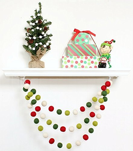 christmas felt ball garland pom pom garland christmas red white and green christmas