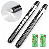 Opoway Nurse Penlight with Pupil Gauge LED Medical Pen Lights for Nursing Doctors Batteries Free, Black 2ct.