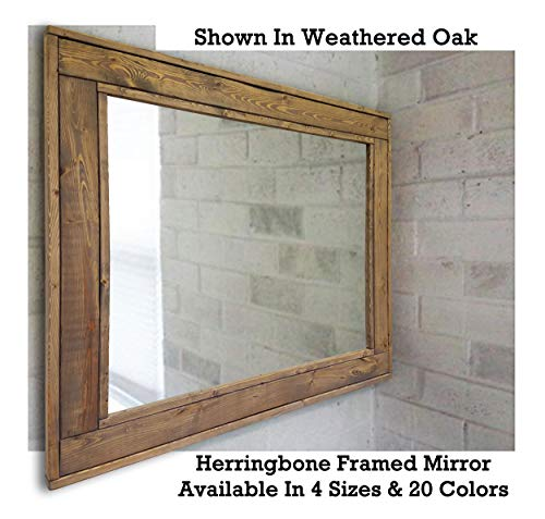 Herringbone Reclaimed Wood Framed Mirror, Available in 4 Sizes and 20 Stain colors: Shown in Weathered Oak - Wall Mirror Decorative - Home Decor Mirror - Rustic Wall Mirror - Rectangular Mirror