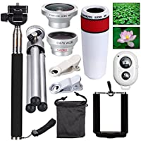 AFAITH Mobile Phones Lens 10-in-1 Lens Kit for Smartphone, 8x Telescope for telephoto / fisheye lens / 2 in 1 macro lens and remote control Selfie Stick Monopod + Bluetooth + Mini Tripod Monopod for iPhone 7 / iPhone 7 Plus, iPhone 6s / 6s Plus, Samsung Galaxy S8 / S8 / S7 / S7 / S6, Huawei P10 / P9 / P8, Sony, HTC, Nokia und andere Smartphones PA033