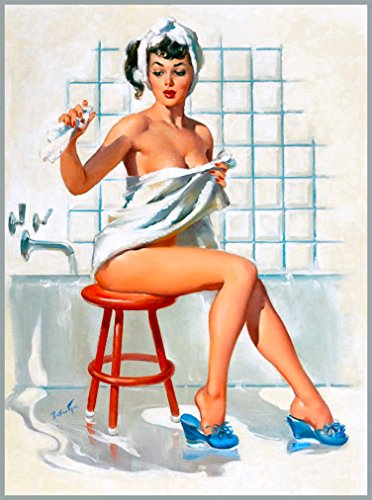 1940s Pin-Up Girl Bath Time Picture Poster Print Vintage Art Pin Up