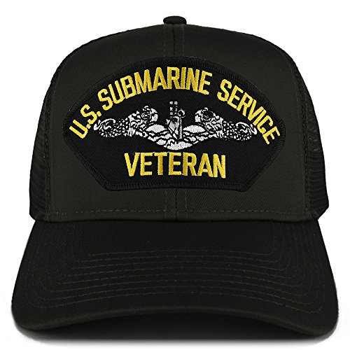 Armycrew US Submarine Service Veteran Embroidered Patch Snapback Mesh Trucker Cap - Black (Submarine Hats)