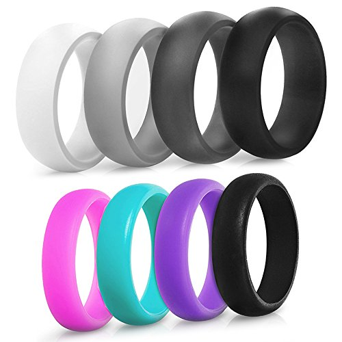 Saco Band Silicone Ring Wedding Band for Men and Women - 4 Pack (Women: Pink, Teal, Purple, Black, 5.5-6 (16.5mm))