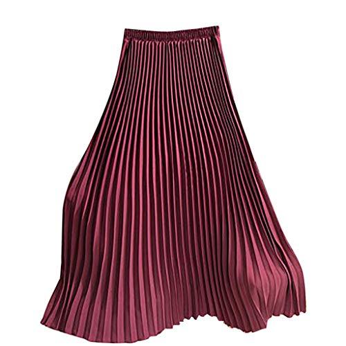 [해외]여성용 롱 플리츠 스커트 여성용 빈티지 하이 웨이스트 폴드 솔리드 컬러 루즈 비치 맥시 스커트 2019 / Womens Long Pleated Skirt Ladies Vintage High Waist Fold Solid Color Loose Beach Maxi Skirt New 2019 (Free, Red)