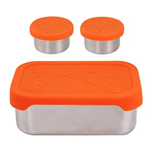 kilofly 3-Piece BPA Free Leak Proof Rectangular Reusable Eco Large Stainless Steel Food Storage Container with Silicone Lid for Snack Meal Prep Bento Lunch Dip Deli Office Camping, 1.7 27-Ounce Orange