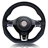 vw r steering wheel - Black Genuine Leather Steering Wheel Cover for 2010-2014 Volkswagen VW GTI / 2012-2014 VW Jetta GLI / 2012 2013 VW Golf R / 2014-2016 VW Tiguan R-Line