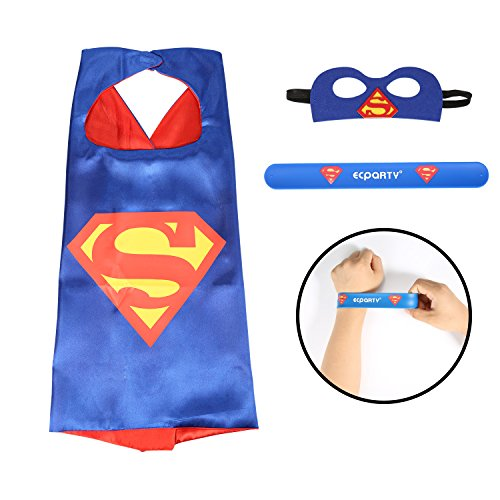 [Ecparty Superhero Cape and Mask and Bracelets Costumes Set for Kids (Superman)] (Adult Black Suit Superman Costumes)