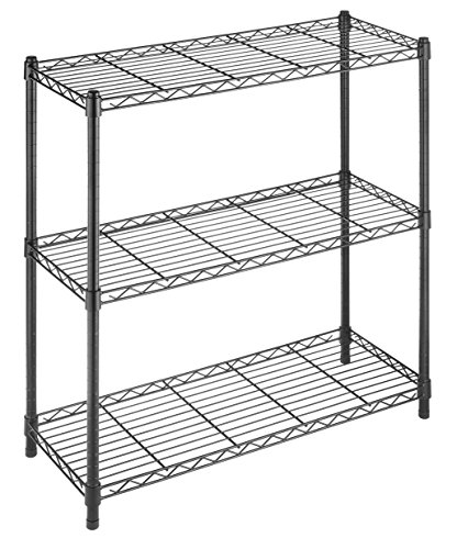 Whitmor Supreme 3 Tier Shelving with Adjustable Shelves and Leveling Feet Black