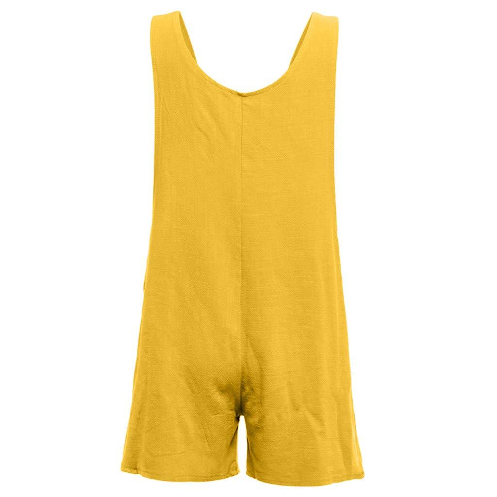 Pantalones Cortos de Vestir de Mujer Casual con Botones Monos de Lino Bolsillos SUNNSEAN Color S/ólido Monos Jumpsuit Pantal/ón de Tirantes Monos de Mujer Cortos
