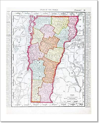 Amazon.com: Barewalls Antique Vintage Color Map of Vermont ...