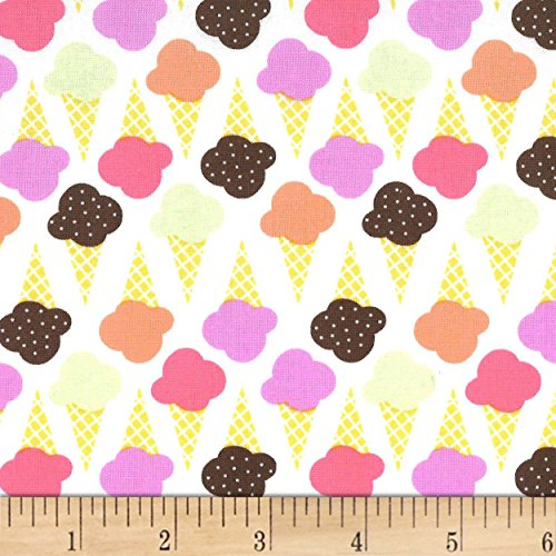 Michael Miller Ice Cream You Scream Game of Cones Sherbet Fabric By The Yard - Michael Miller Cream