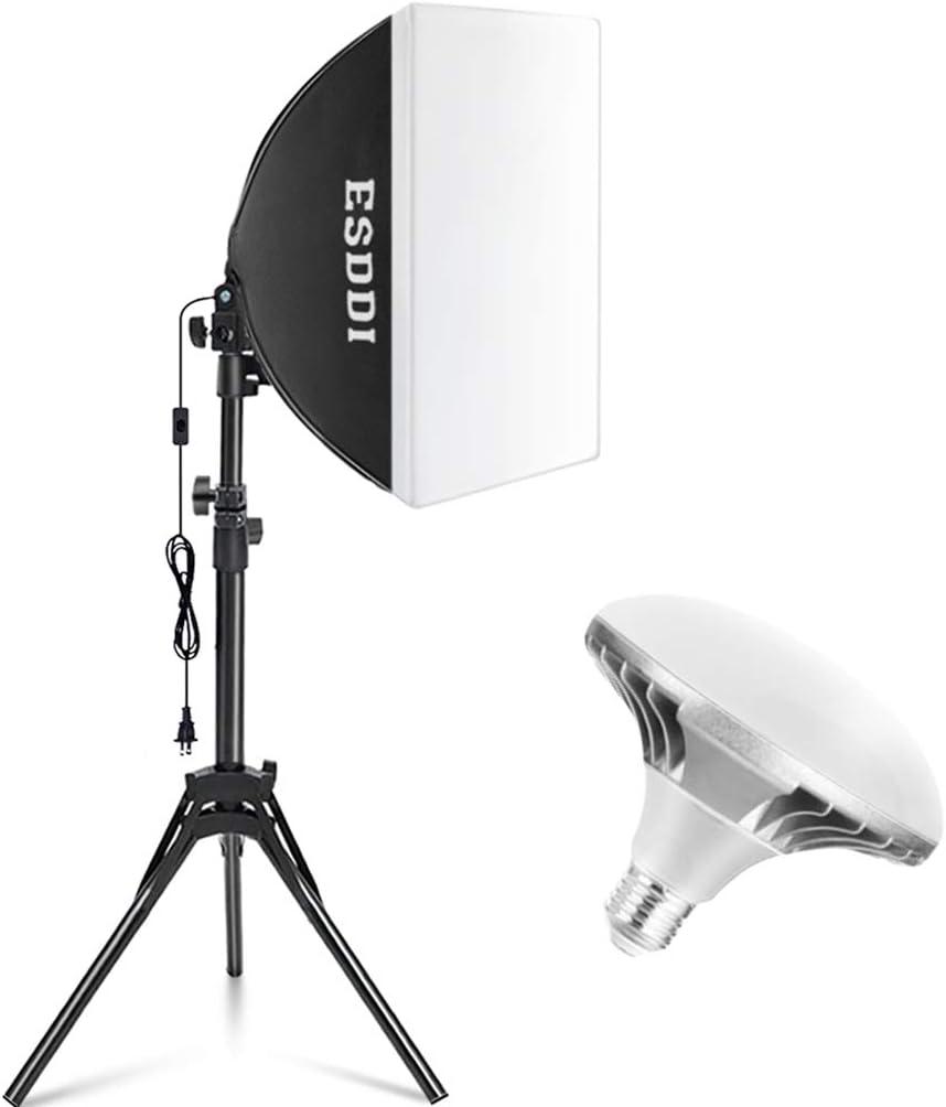 ESDDI Softbox Led Lighting Kit Photography Equipment Photo Lighting with 40 x 40 cm Reflector and 450W 5400K E27 Socket Led Bulb for Filming Studio Lighting and Portrait Photography