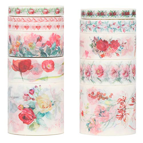Molshine Floral Washi Masking Tape Set of 10, Spring Flower Decorative Sticky Paper Tapes for DIY Craft, Gift Wrapping, Bullet Journal, Planner, Scrapbooking (A) -