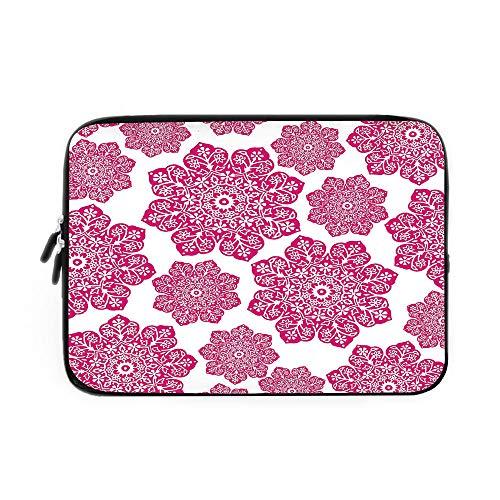 Hot Pink Laptop Sleeve Bag,Neoprene Sleeve Case/Ethnic Batik Floral Arrangement with Eastern Inspired Art Design Batik Pattern Decorative/for Apple MacBook Air Samsung Google Acer HP DELL Len