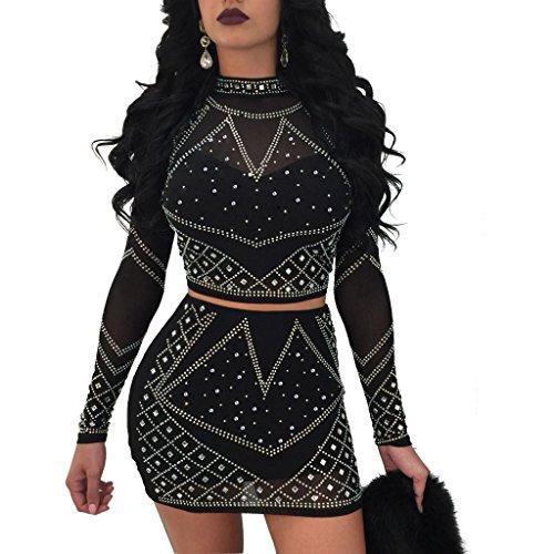Glamaker Women's 2 Piece Rhinestone Mesh Dress Set Sleeve Mini Bodycon Outfit Dress (Mesh Dress Set)