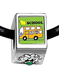 Silver Plated Fun School Bus Photo Emerald Green Crystal May Birthstone Flower Bead Charm Bracelets