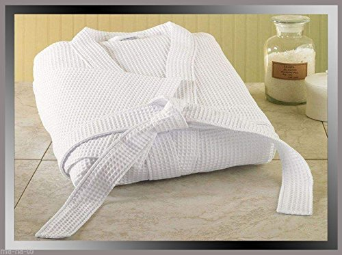 WAFFLE WEAVE WHITE HOTEL QUALITY UNISEX BATHROBE DRESSING GOWN 100% TURKISH COTTON, FREE TOWELLING SLIPPERS