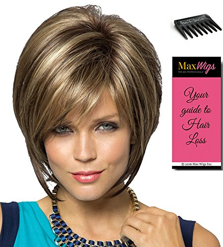 Blonde Lush Layers Wig (Reese Average Cap Color Vanilla Lush - Noriko Wigs Women's Tousled Bob Synthetic Short Choppy Layers Side Fringe Open Weft Bundle with Wig Comb, MaxWigs Hairloss Booklet)