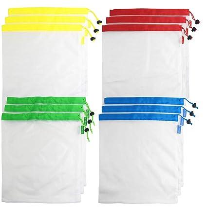 AFUNTA - 12 bolsas reutilizables premium ecológicas para ...