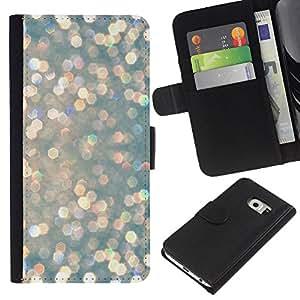 EJOY---La carpeta del tirón la caja de cuero de alta calidad de la PU Caso protector / Samsung Galaxy S6 EDGE / --Rosa de la plata Gotas Brillante Glamorous