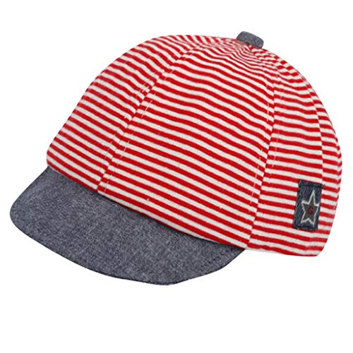 (Comfy Baseball Cap for Baby Boy 3~12 Months Old | Wesracia Stripe Baby Reversible Sun Hat Breathable Visor(FZ,Red))