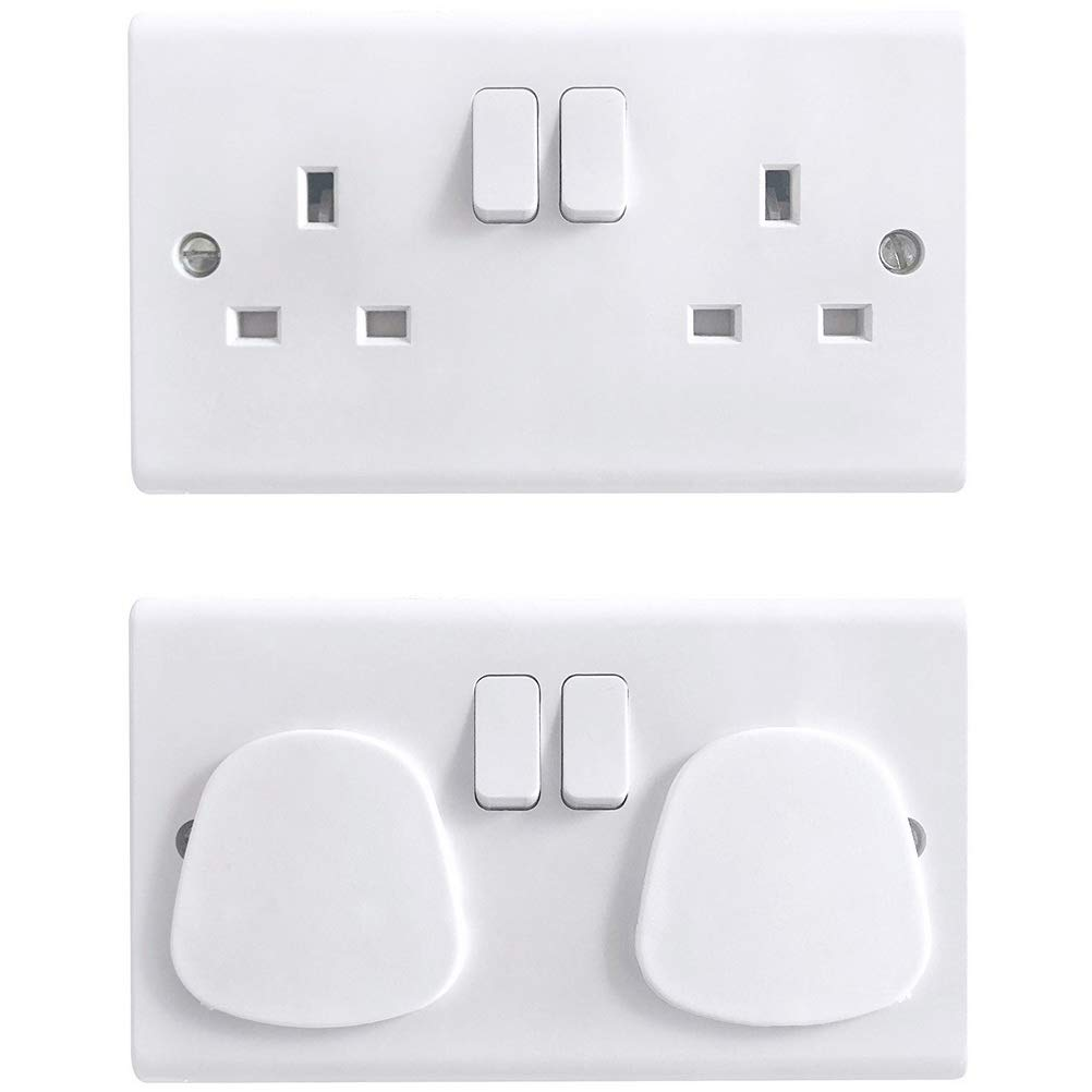 White Socket Covers Electrical Socket Protector Child Safety Plug Covers Safety Outlet Caps for Home and School kuou 36 pcs Plug Socket Cover