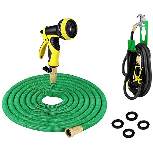 PLUSINNO Retractable Garden Water Hose FULL SET, Heavy Duty Expanding Hose Pipe with Shut Off Valve Solid Brass Connector, Free Hose Hanger and 9-pattern Spray Nozzle (25 Feet, Green)