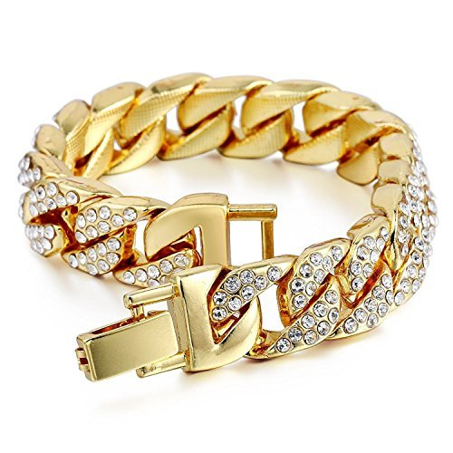 Mens Womens Cuban Link Bracelet Hip Hop Bracelet Stainless Steel Chain Bracelet Iced Out Curb Cuban 18k Gold Plated Bracelet with Clear Rhinestones (A-Gold) ()