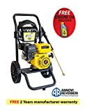 Waspper W3000HB 3000PSI 3.0 GPM Gas Powered Cold Water Pressure Washer AR Pump Brass HeadPower Washer Gasoline Easy Start Axial Aluminum Pump Small Light Durable Frame and Wheels