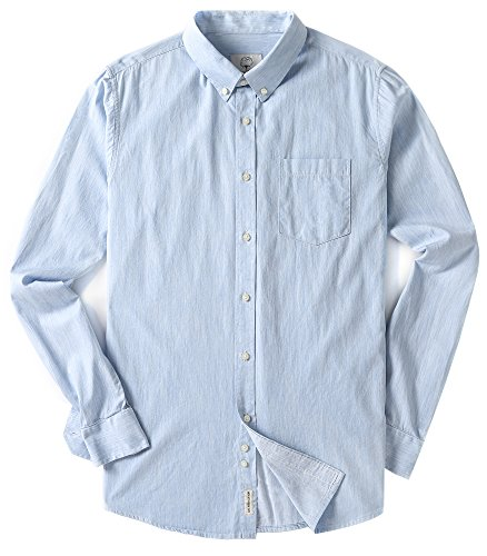 Fit Oxford Sport Shirt - Mens Oxford Long Sleeve Solid Standard Fit Button Down Casual Dress Shirts Light Blue Large...