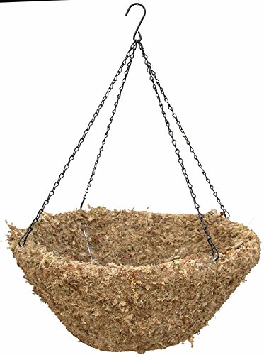 24'' Sphagnum Moss Hanging Basket With Black Chain Hangers - 7 Sets (7 Sphagnum Moss Baskets and 7 Rigid Wire Hangers) by Topiary Art Works