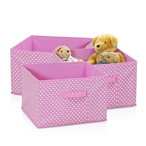 Pink 3 Fabric Storage - Furinno 3-SD11144PK Laci Dot Non-Woven Fabric Soft Storage Organizer (3 Pack), Small, Pink