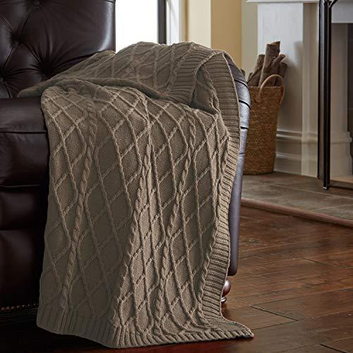 Amrapur Overseas | 100% Cotton Oversized Cable Diamond Knit Throw (Taupe)