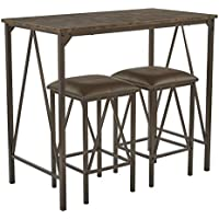 Office Star Catalina 3 Piece Metal Breakfast Set in a Powder Coat Finish, Brown